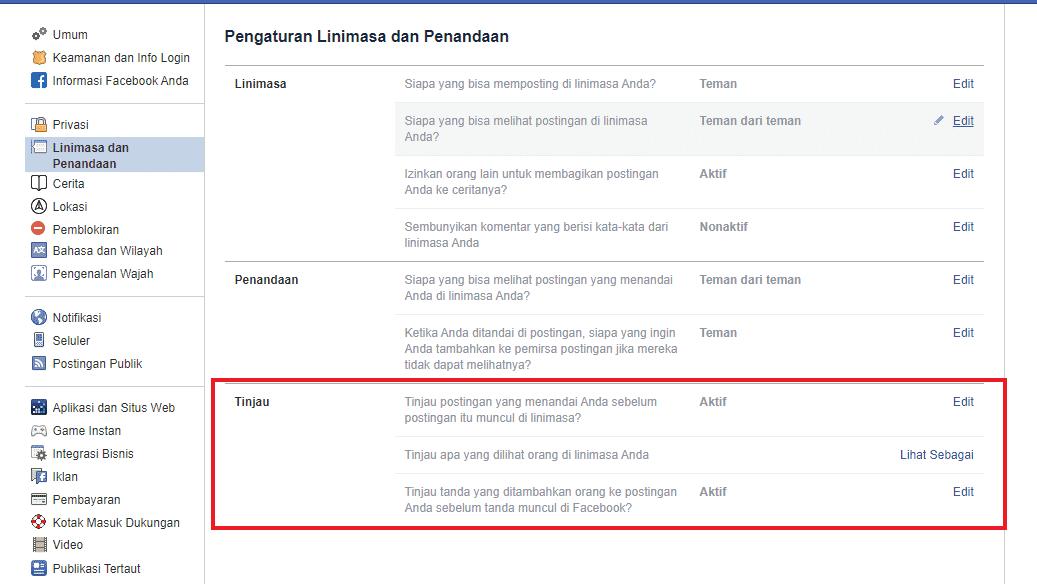 Aktifkan tinjau penandaan di facebook