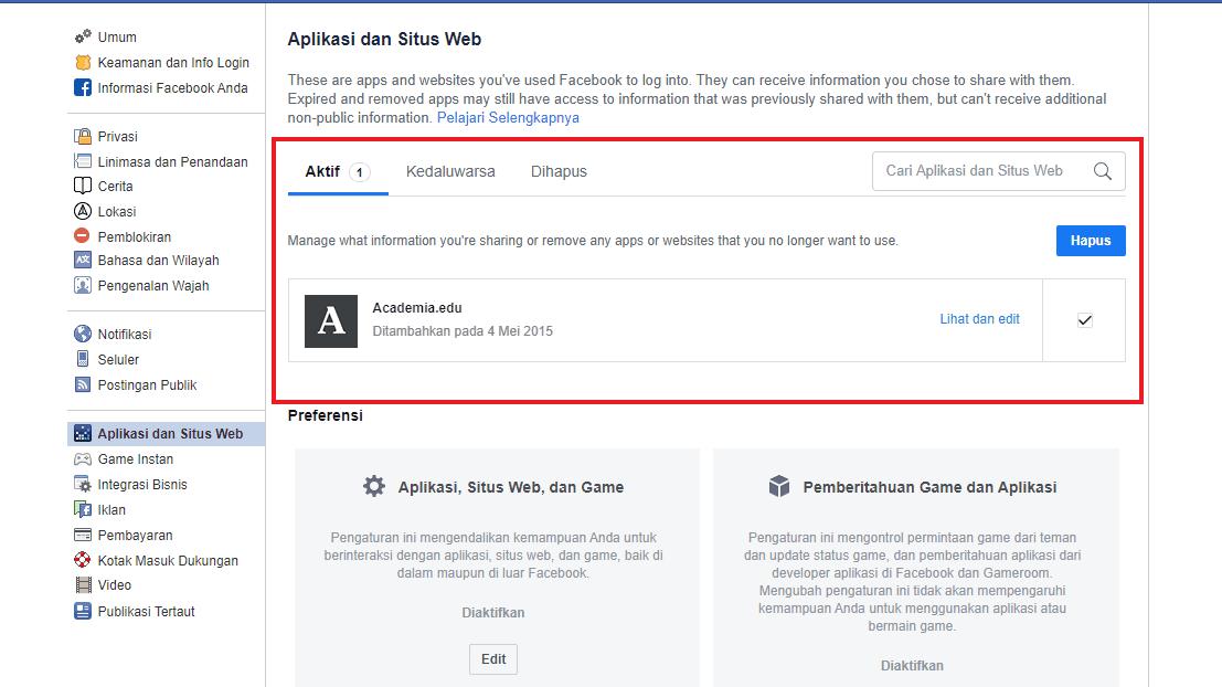 Hapus aplikasi yang tertaut dengan facebook