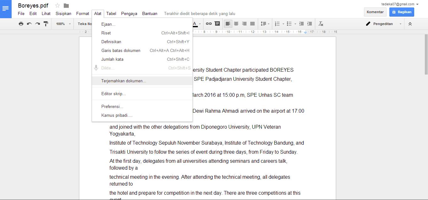 Terjemahkan dokumen di google drive