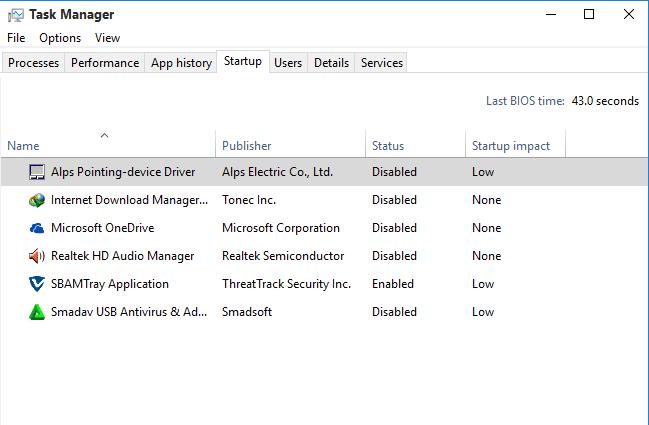 Disable program startup windows