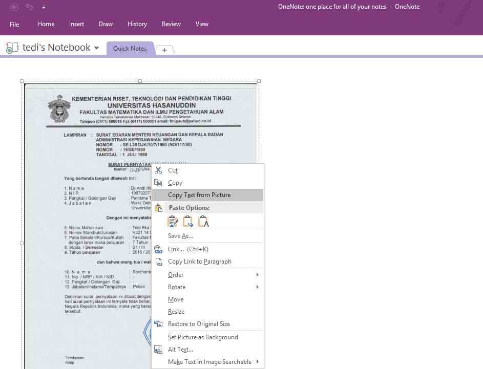 Edit pdf dengan ms Onenote