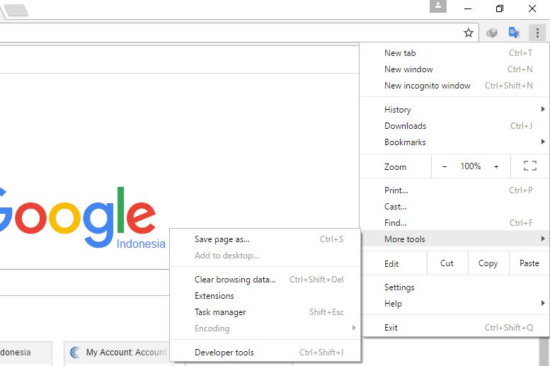 Pengaturan extensions google chrome