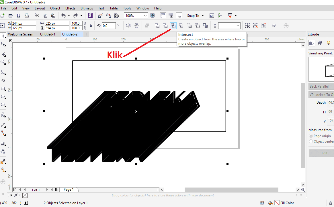 Membuat efek long shadow di corel tahap 4