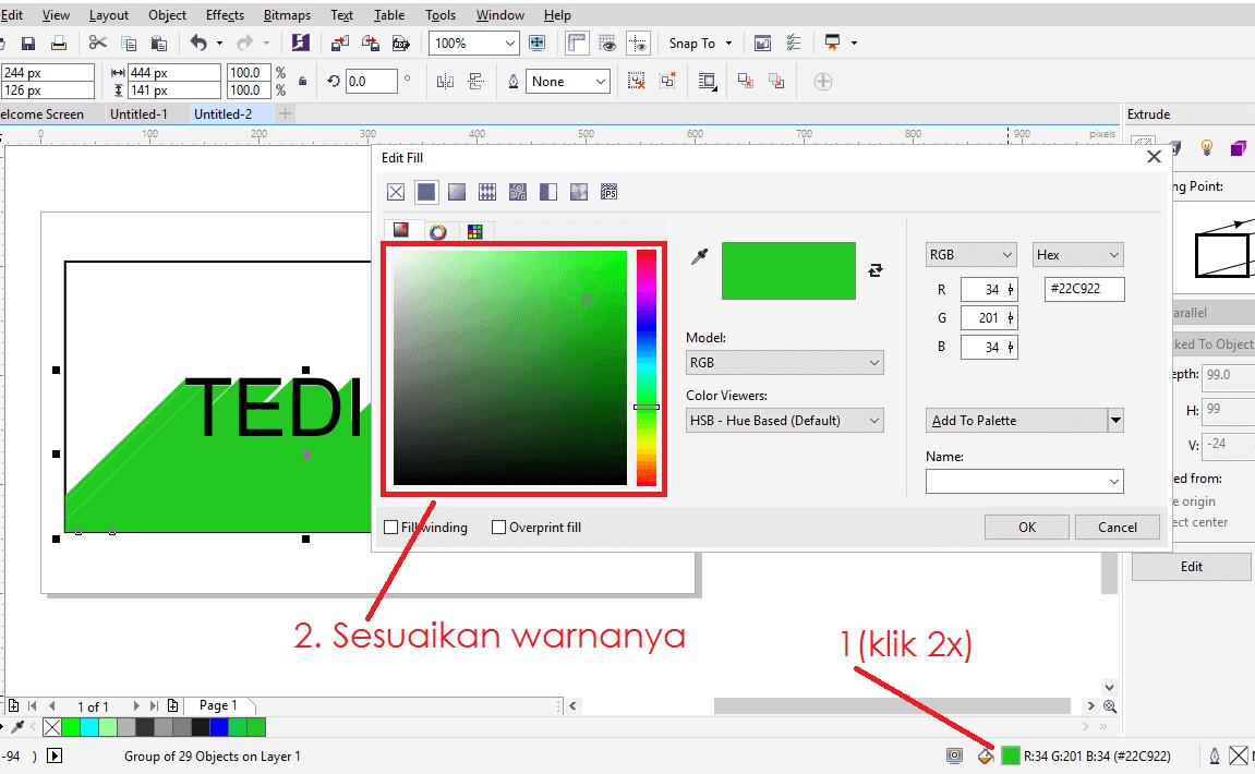 Membuat efek long shadow di corel tahap 7