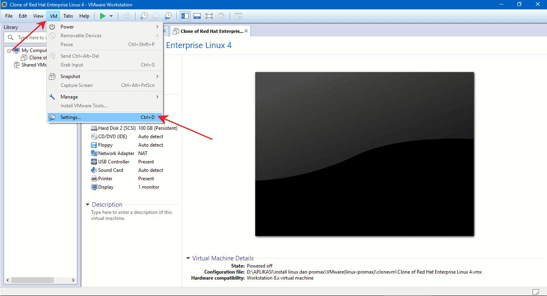 setting vmware workstation