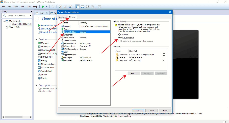 share folder dari windows ke redhat