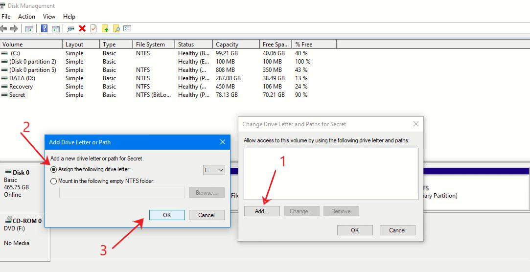 Menyembunyikan partisi melalui disk management