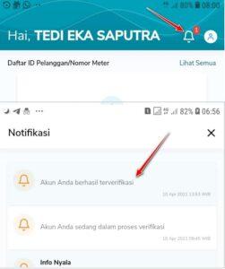 Verifikasi identitas di aplikasi PLN berhasil
