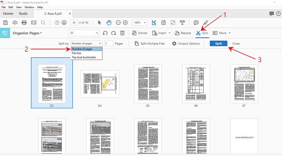 split pdf di adobe acrobat pro dc