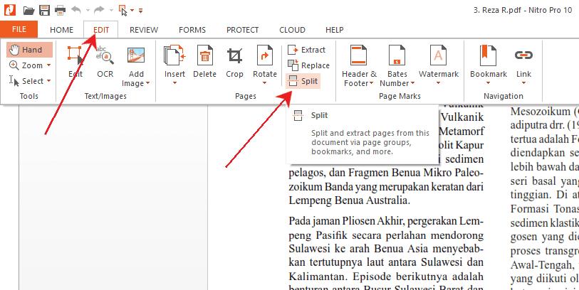 split pdf di nitro pro