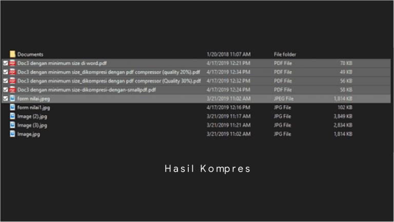 Hasil kompres pdf hingga ukuran terkecil