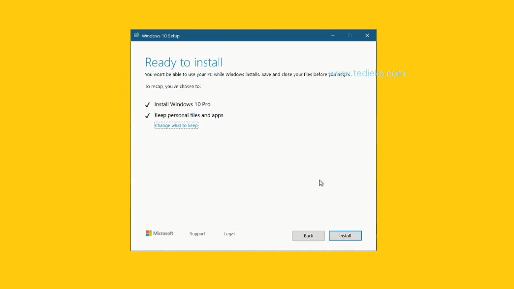 Update windows 10 via media creation tool