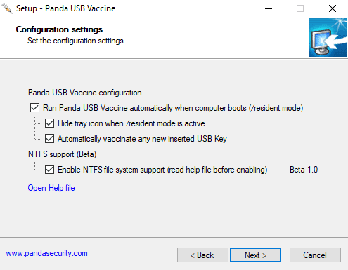 Petunjuk install Panda USB Vaccine