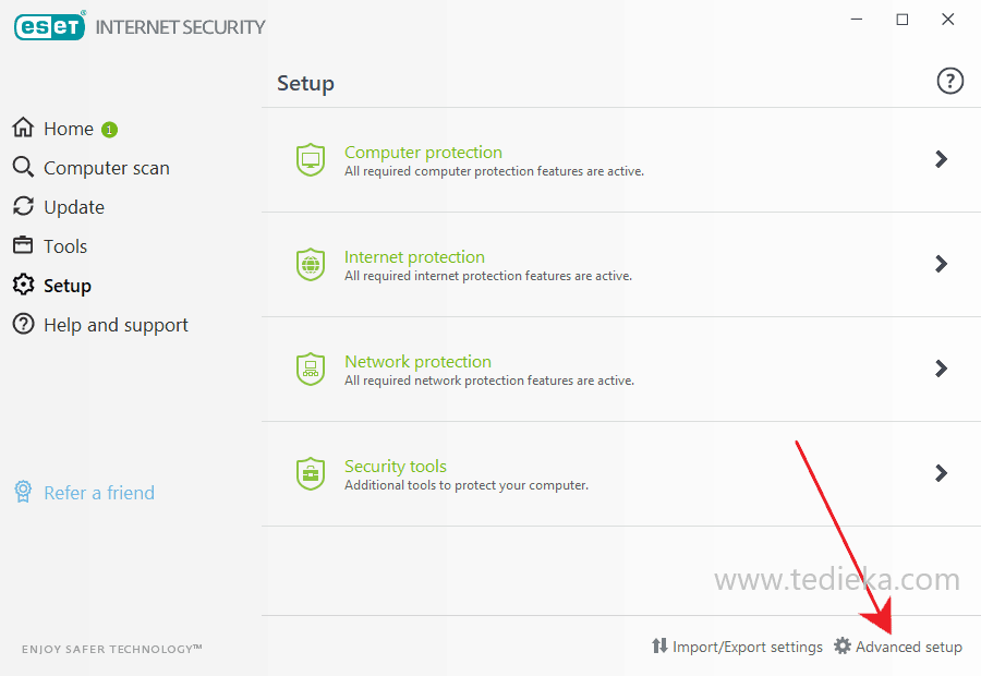 Advanced setup di eset