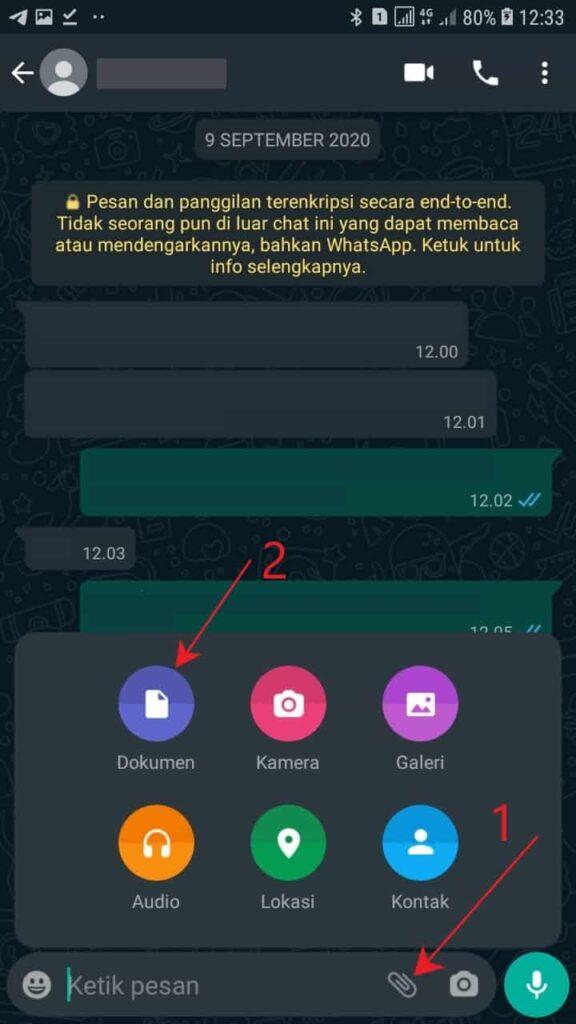 Kirim video  di whatsapp sebagai dokumen
