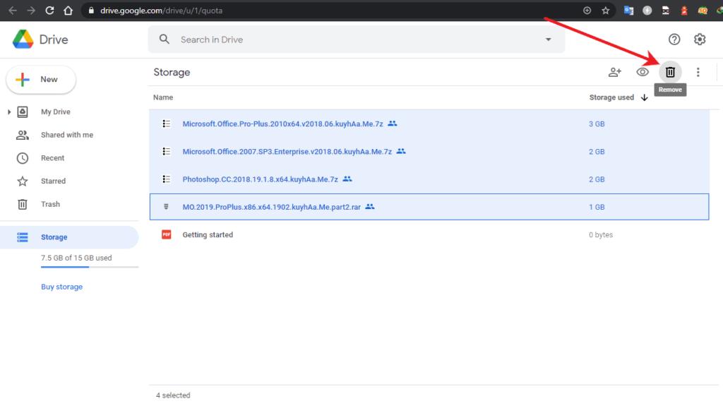 membersihkan file di google drive
