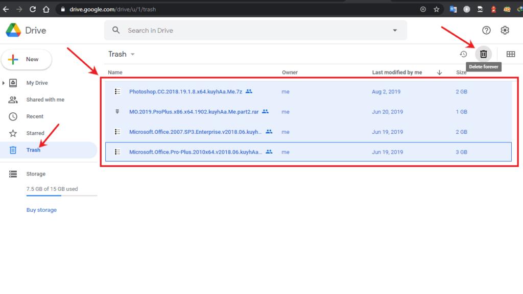 cara menghapus permanen file google drive