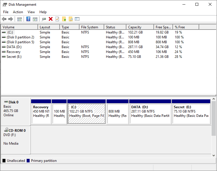Disk management windows 10