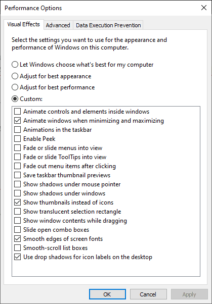 Custom effect performance option