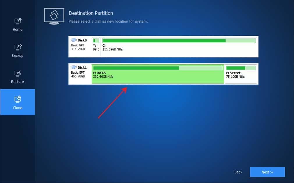 Memilih disk sebagai lokasi baru sistem windows