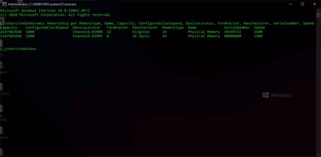 cek tipe ram melalui CMD